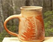 Red Fern Mug, 24oz.Extra Large Coffee/Tea Beer Handmade, Microwave friendly, Stoneware
