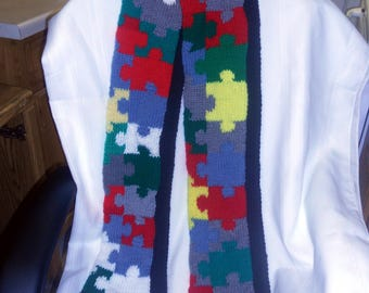 Autism Awareness Puzzle Scarf Hand Knit
