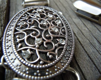 Silver metal filigree dress clip, shirt clip, sweater clip, jacket clip for back of waist