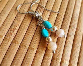 Brianna Earrings in Silver-Matching SET-Magnesite & Striped Agate-Simple-gemstone-Earthy-Hippie-Folk-Country-gifts under 20