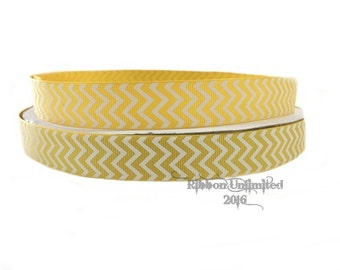 10 Yds. WHOLESALE 7/8 Inch Yellow Gold & White Chevron grosgrain ribbon LOW SHIPPING Cost