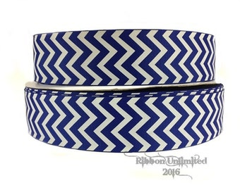 10 Yds. WHOLESALE 1.5 Inch Blue & White Chevron grosgrain ribbon LOW SHIPPING Cost