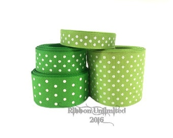 10 Yds. ****SaLE!!!! WHOLESALE LiME WiTH WHiTE SWiSS DoT grosgrain ribbon LOW SHIPPING Cost