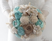 Ready to Ship ~ Will Arrive To You in 2 to 3 Business Days! ~~~ Original Rustic Tiffany Blue Sola Flower Bridal Bouquet ~~~ FREE Shipping