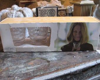 Vintage original box 4 crystalware hard plastic tumbler high ball glasses 1970s Dupont