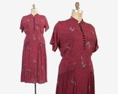 Vintage 40s Rayon DRESS / 1940s Abstract Print Pleated Skirt Plus Size Day Dress L - XL