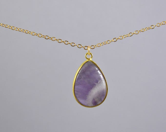 Amethyst Large Drop Necklace,  February Birthstone Necklace, Birthstone, Amethyst Jewelry, Crystal Necklace, Amethyst Crystal Necklace