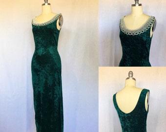 SALE!! Naughty + Nice Dress // 90s Green Stretch Velvet Bodycon  Maxi Dress