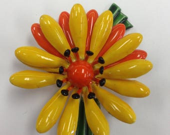 Yellow Orange Green Flower Pin Brooch 1960's Original by Robert Bright Cheery