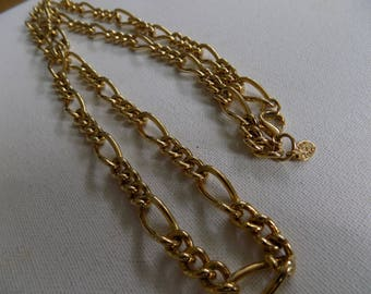 Vintage necklace, signed Erwin Pearl long and chunky golden chain necklace,jewelry