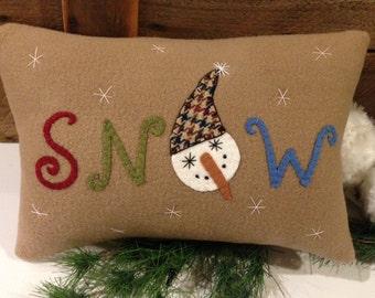 SNOW Appliqued Wool Snowman Pillow JKB