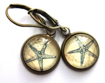 Blue Starfish Glass and Brass Earrings Vintage Style Sepia Tint Retro Fashion Jewelry