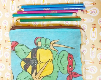 TMNT teenage mutant ninja turtles vintage style zipper closure pencil or make-up bag by felices happy designs