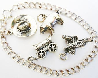 "Sterling Silver Charm Bracelet 7"", 4 Western Charms, Covered Wagon, Cowboy Hat, Saddle, Pig"