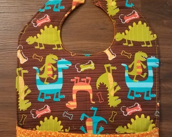Dino Might Reversible Double-Sided Pocket Bib