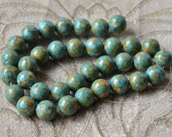 Single 12mm blue turquoise round stone nugget stone Beads,turquoise stone beads loose strands,turquoise Nugget Gemstone Bead loose strands