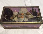 HOLIDAY 25% SALE Vintage Art Deco Tin Container 1930s by Canco Purple Gold Box