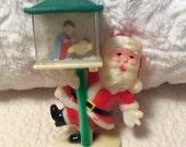HOLIDAY 25% SALE Vintage Santa Lamp Post Snow Globe Jesus Birth Nativity Hard Plastic 1960s