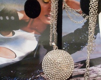 Necklace Rhinestone silver disc necklace Rue23paris Jewelry We Ship Internationally