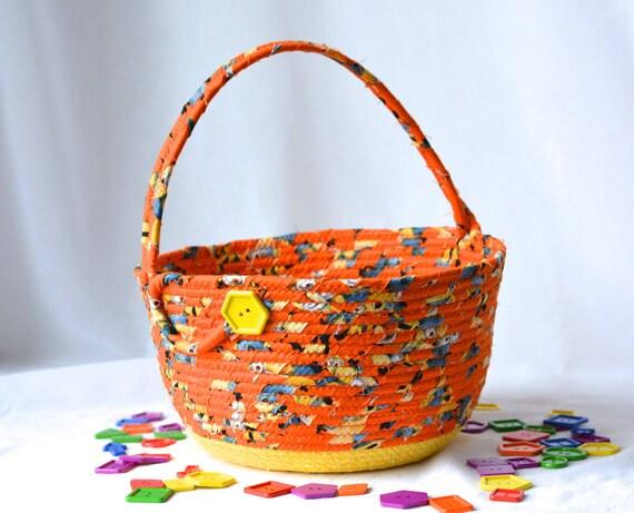 Orange Easter Basket, Handmade Fabric Basket, Fun Easter Basket, Easter Decoration, hand wrapped and coiled fabric basket