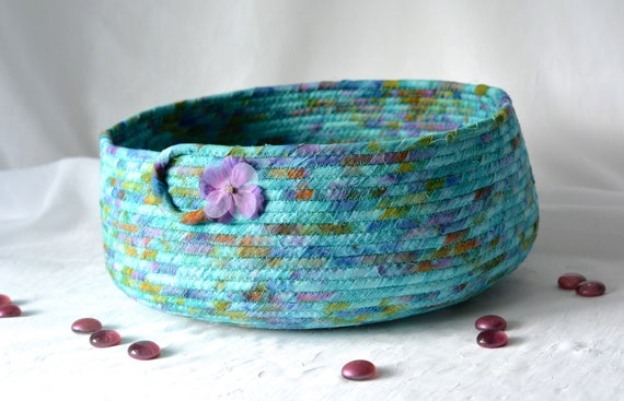 Handmade Decorative Basket, Hand Coiled Pet Bed, Aqua Fabric Basket, Modern Cat Bed, Dog Bed Furniture, Turquoise Fabric Bowl