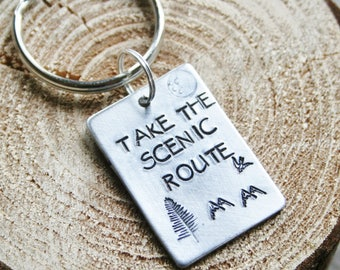 Take The Scenic Route Key Chain Keychain Hand Stamped Brushed Aluminum Travel Adventure Trip Gift For Mom Dad SMALL