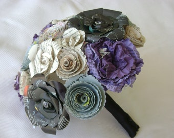 Bridal bouquet with black astronomy roses, purple carnations , vintage book page roses  alternative goth steampunk genre recycled bridesmaid