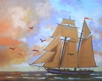 Clipper Ship sail boat seascape 24x36 (61 x 91 cm) oils on canvas by artist RUSTY RUST / M-423