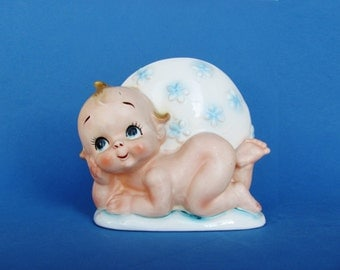 Vintage Lefton Ceramic Baby Planter 3823 Great Gift For Newborns, New Parents Retro Nursery Decor Kewpie Doll