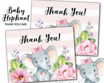 Pink Baby Elephant Folded Type Printable Thank You Card Instant Download
