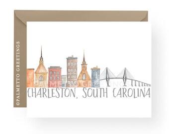 PRINTED - Set of 8 Folded Notecards, Charleston South Carolina Skyline with Ravenel Bridge Original Watercolor Design by Palmetto Greetings
