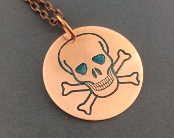 Skull and crossbones necklace, skeleton copper, skull necklace, bone jewelry, alternative jewelry, pirate necklace, Halloween jewelry