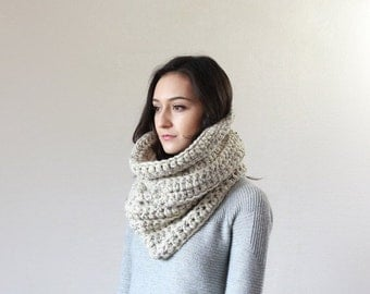 End of season SALE Large Chunky Cowl.Thermal Textured Scarf. snood infinity scarf // The Chartres - OATMEAL
