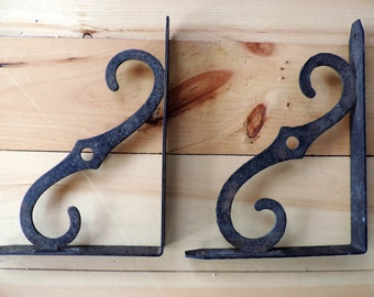 Vintage Iron Shelf Brackets Large Size Old Bracket Set of 2 Home Improvement Hardware Vintage Folk Art