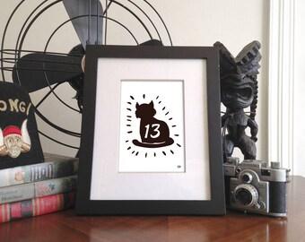 13 black cat 5x7 Giclee Print (Unframed)