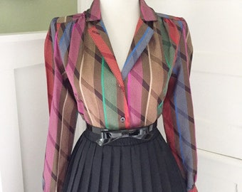 VINTAGE 1950s 1960s Atomic Rainbow Striped Plaid Atomic Print Button Down Long Sleeve Blouse