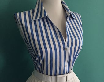 Sexy Vintage Cotton Yellow & White Striped Button Down Sleeveless Blouse Top