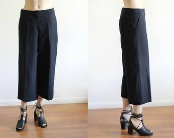 Vintage  Wool Black Culottes / Wide Leg Cropped Pants