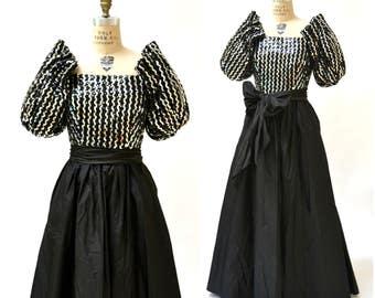 Vintage 80s Prom Dress XS Small Black Silver Sequin Evening Ball Gown// Vintage Silver Sequin Dress Small Princess Dress