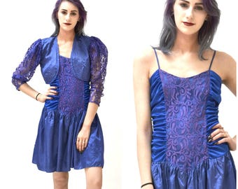 Vintage 80s Prom Dress Size Small Blue with Lace Cropped Bolero Jacket// Vintage 80s Party Dress Size Small