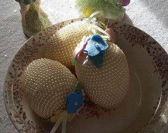 """3 PEARL easter egg ornaments DECORATIONS YELLOW shabby chic vintage 4"""""""