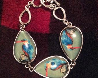 Bird bracelet Lucite Silvertone vintage 80s no flaws