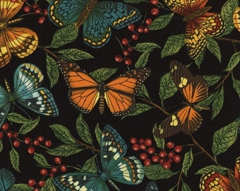Butterflies and Leaves in Black  C4468 - By Sue Schlaback for Timeless Treasures Fabric - By the Yard