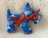 Stuffed Scottie dog - plush - holiday - hanukkah - blue with menorah