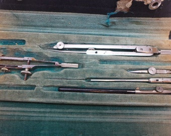 Vintage Drafting Tools - Draftsman Tools - Drafting Tool Kit