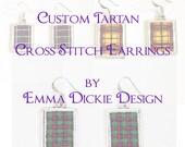 Forbes Tartan Cross Stitch Earrings & 14 Count PDF Pattern