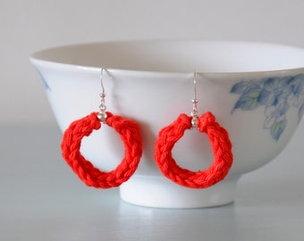 Red Knitted Earrings - Scarlet Silver Plated Cotton Hoop Earrings Colourful Jewellery Gift for Her by Emma Dickie Design