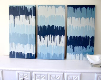 Original Paint Drip Art-Abstract Wall Painting TRIPTYCH