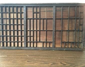 Antique Printer Tray Letterpress Shadowbox No Handle