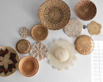 crochet kid's white bonnet hat / woven wall basket